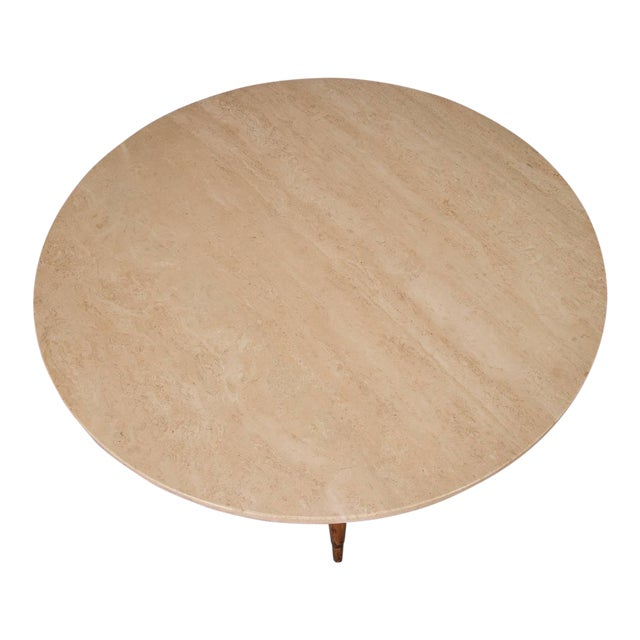 Round Travertine Cocktail Table by Paul McCobb for the Connoisseur Collection For Sale
