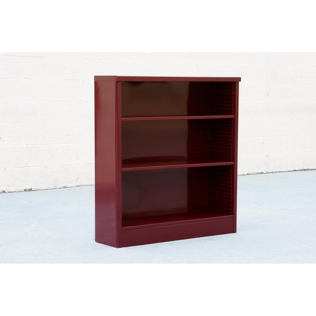 1960s 1960s Tanker Style Steel Bookcase Refinished in Red Wine For Sale - Image 5 of 5