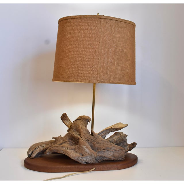 Brass 1960s Drift Wood Lamp For Sale - Image 7 of 10