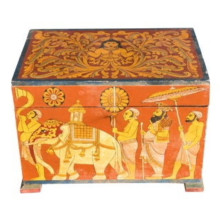 Vintage Painted Trunk Box For Sale