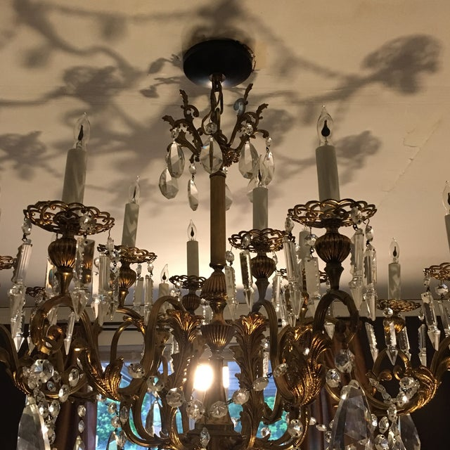 Gold 20th Century Hand Cut Lead Crystal Chandelier For Sale - Image 8 of 11