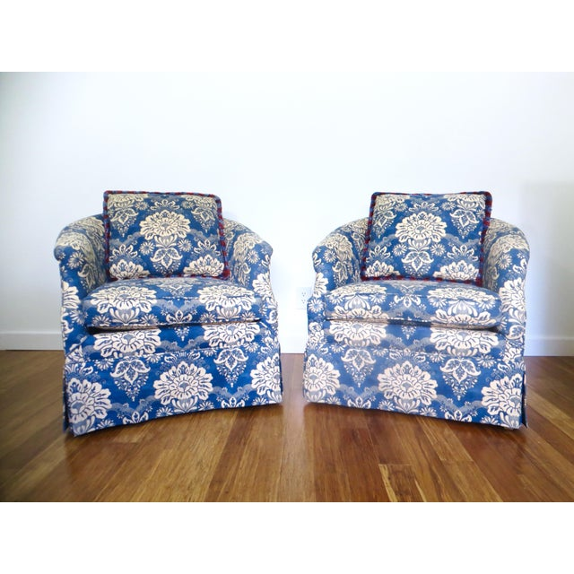 Vintage Pair Barrel Chairs & Ottoman - S/3 - Image 4 of 11