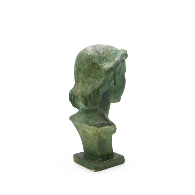 French Art Deco Patina Lady Bust For Sale In New York - Image 6 of 10