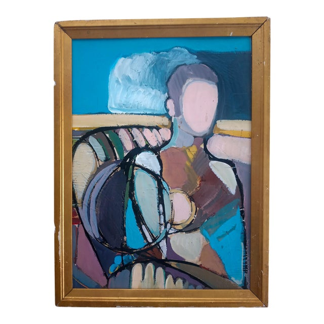 1970s Abstract Cubist Style Portrait Oil Painting, Framed For Sale