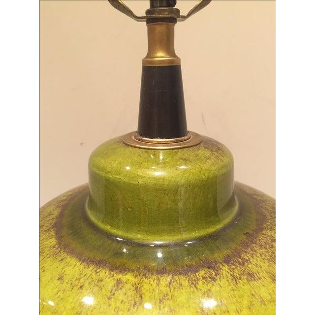 Vintage Green Glazed Lamp - Image 3 of 6