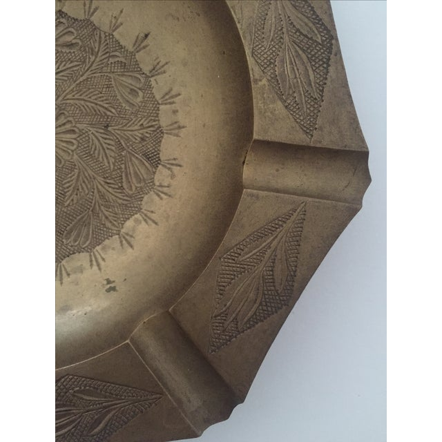 Vintage Mid Century India Brass Octagonal Etched Design Ashtray For Sale In Kansas City - Image 6 of 10