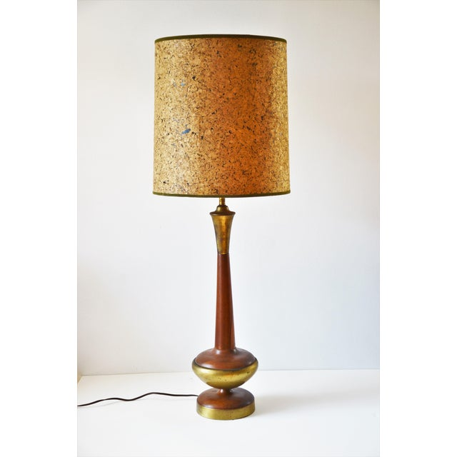 1960s Walnut and Brass Table Lamp With Vintage Cork Shade For Sale - Image 10 of 10