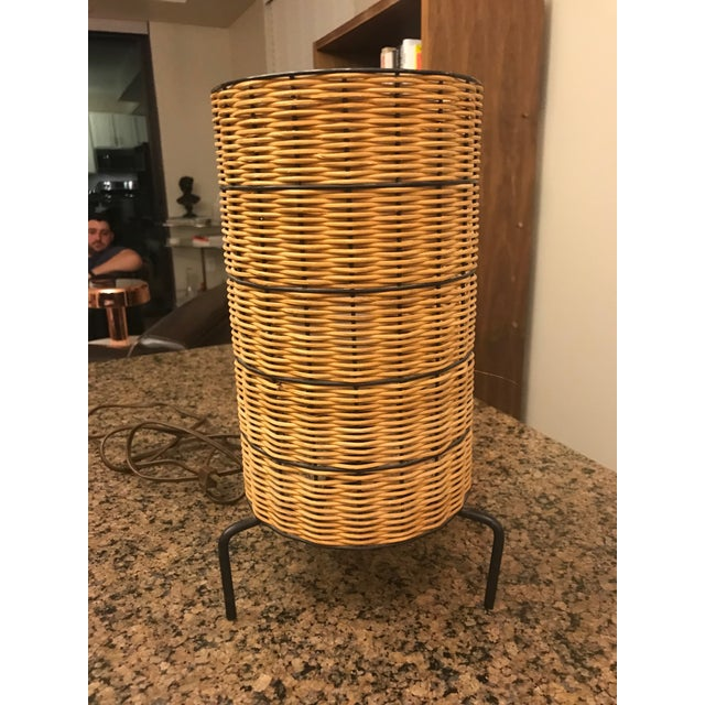 Wicker 1950s Mid-Century Paul Mayen Wicker Table Lamp With Shade For Sale - Image 7 of 7