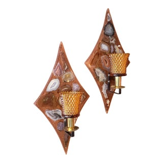 Mid-Century Modern Agate & Lucite Diamond Candle Wall Sconces - a Pair For Sale