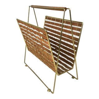 1950s Vintage Tony Paul Interlace Walnut Brass Magazine Rack For Sale