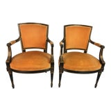 Image of 1950s Vintage Velvet Chairs- a Pair For Sale