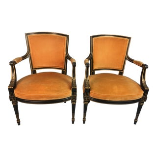 1950s Vintage Velvet Chairs- a Pair For Sale