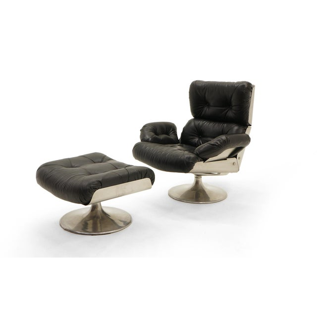 French Black Vinyl and Cast Aluminum Lounge Swivel Chair & Ottoman For Sale - Image 9 of 9