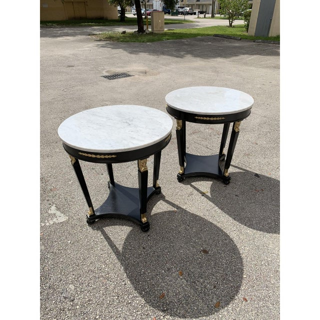 1910s Antique French Empire Marble Top Accent Tables or Gueridon Tables - a Pair For Sale - Image 12 of 13