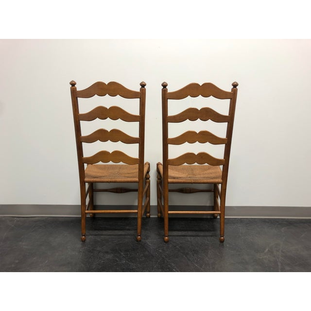 Late 20th Century Ethan Allen Ladder Back Rush Seat Dining Side Chairs - Pair 1 For Sale - Image 5 of 10