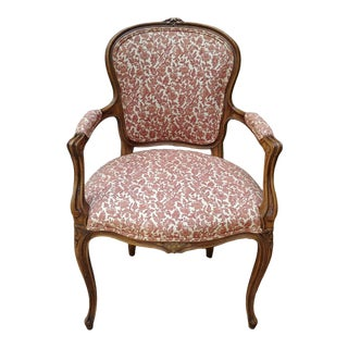 Vintage Louis XV French Carved Fruitwood Hardwood Arm Side Chair With Jacquard Upholstery For Sale