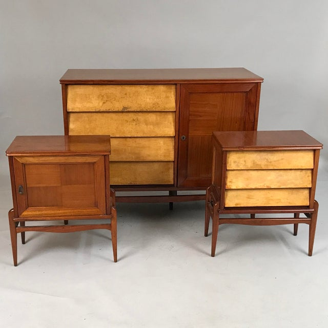 Circa 1940s italian mid century modern maple and parchment - Contemporary maple bedroom furniture ...