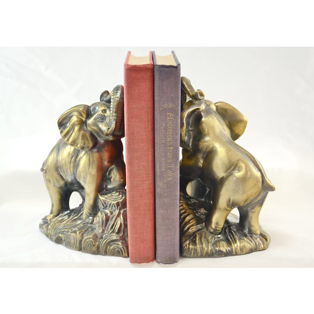 Vintage Brass Finish Elephant Bookends For Sale - Image 4 of 9