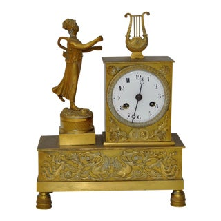 French Bronze Mantle Clock With Lady Statue C.1840s For Sale