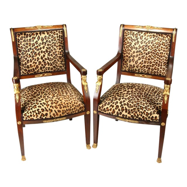 High End Empire Style Chairs With Leopard Fabric- a Pair For Sale