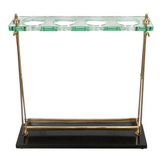 Mid-Century Modern Brass and Marble Umbrella Stand in the Manner of Fontana Arte