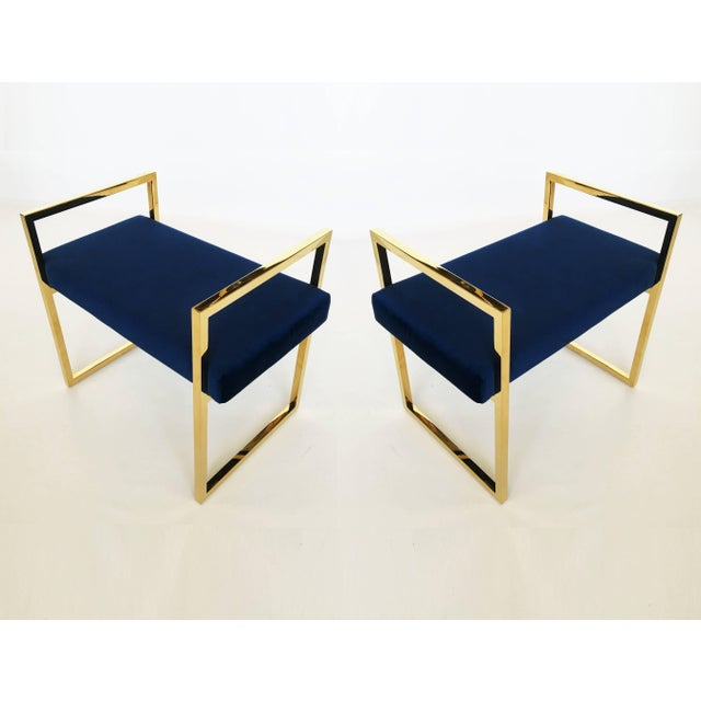 Gold Pair of Polished Brass Benches in the Style of Charles Hollis Jones For Sale - Image 8 of 8