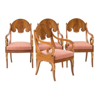 Early 19th Century Russian Neoclassical Mahogany Parcel-Gilt Armchairs - Set of 4