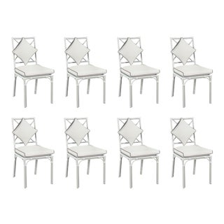 Haven Outdoor Dining Chair, Canvas White with Canvas Coal Welt, Set of 8 For Sale