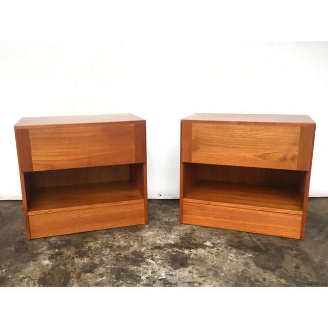 Teak 1960s Mid Century Modern Teak Nightstands - Pair For Sale - Image 7 of 7