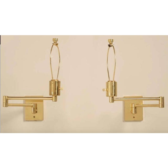 Mid-Century Modern Vintage Hansen Brass Swing Arm Wall Lamps - A Pair For Sale - Image 3 of 9