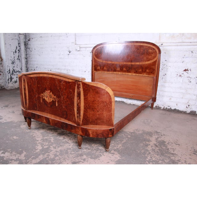 Art Deco 1930s French Art Deco Burl Wood and Inlaid Marquetry Full Size Bed Frame For Sale - Image 3 of 8