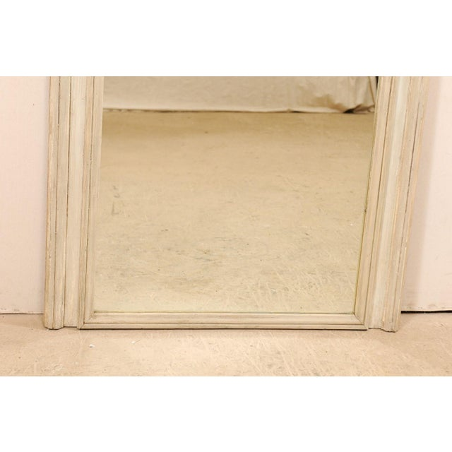 White Tall French 19th Century Painted Wood Trumeau Mirror For Sale - Image 8 of 10