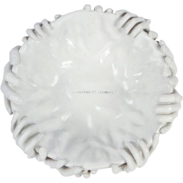 Contemporary Contemporary Surrealist White Ceramic Hand Bowl For Sale - Image 3 of 4
