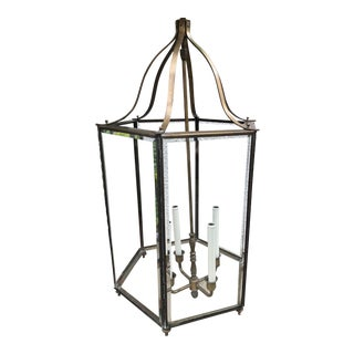 1950s Neoclassical Colossal 4-Light Brass Entry Hall Lantern For Sale