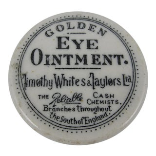 19th Century Staffordshire Transfer Printed Medicine Pot & Lid - Golden Eye Ointment