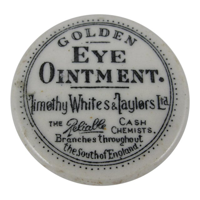 19th Century Staffordshire Transfer Printed Medicine Pot & Lid - Golden Eye Ointment For Sale