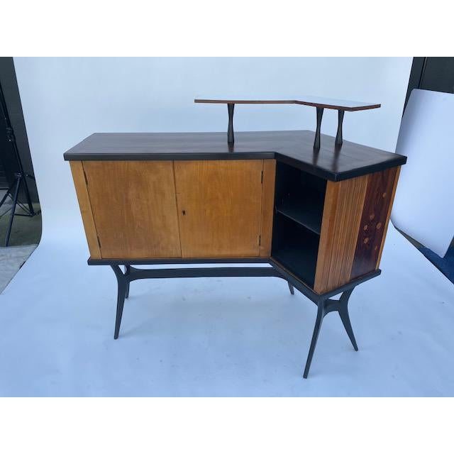 Brown Late 1950's Mid Century Inlaid Bar For Sale - Image 8 of 11