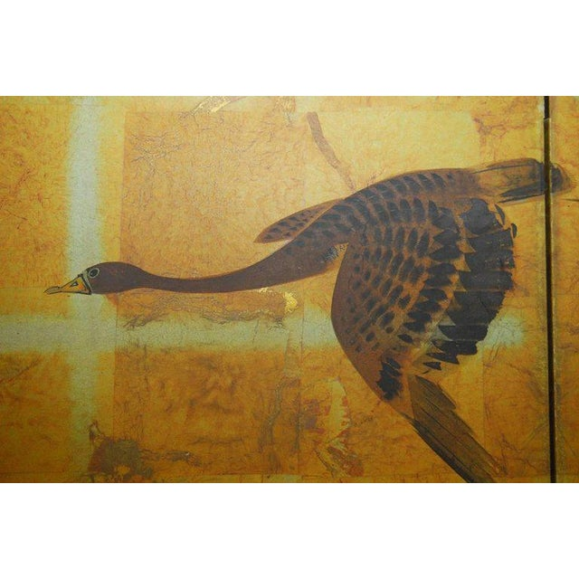 Paper Japanese Four-Panel Byobu Screen Autumn Geese For Sale - Image 7 of 11