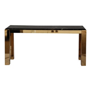 Vintage Brass and Marble Console Table For Sale
