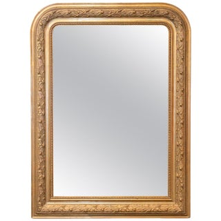 Antique French Louis Philippe Gilt Mirror With Detailed Floral Frame For Sale