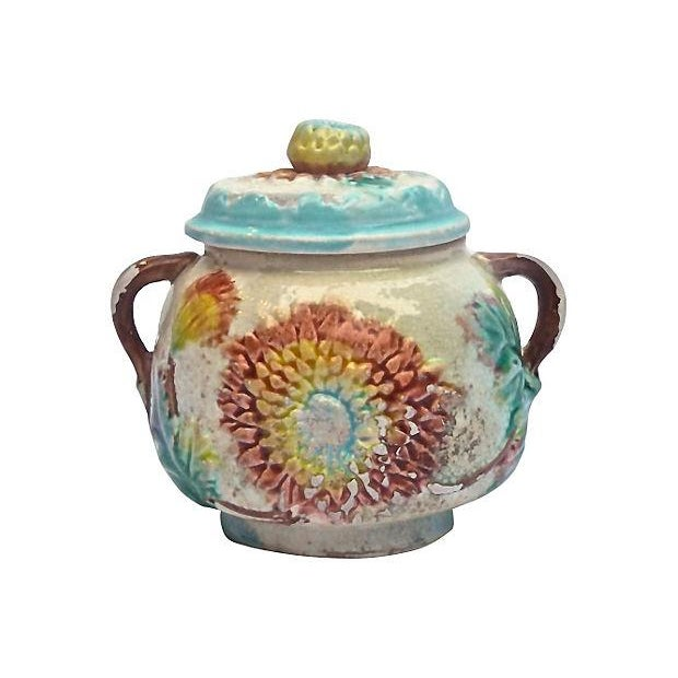French Antique Majolica Dahlia Lidded Bowl For Sale - Image 3 of 3