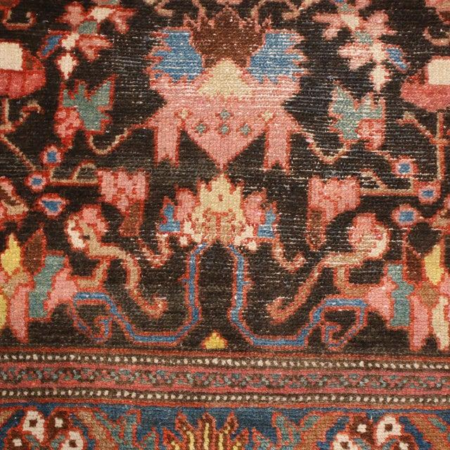 "Rug & Kilim Vintage Bidjar Brown and Pink Wool Runner Rug With Blue Accents - 2'7"" x 7'8'"" For Sale - Image 4 of 7"