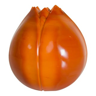 Persimmon Peking Hand Blown Glass Lotus Bud Shape Vase by Robert Kuo, Limited Edition For Sale