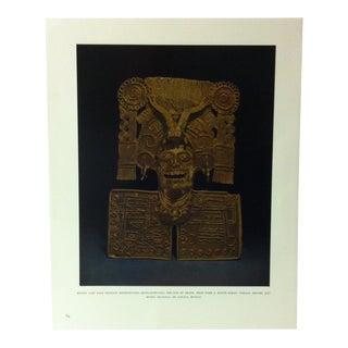 "Circa 1960 ""Mixtec Cast Gold Pendant Representing Mictlantecutli"" Treasures of Ancient America Mounted Print For Sale"