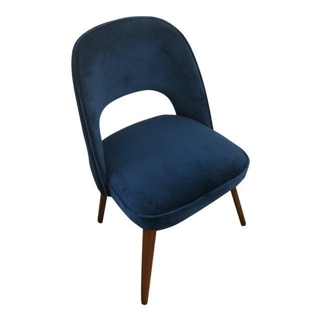 1950s Mid Century Cocktail Chair in Dark Teal Velvet For Sale
