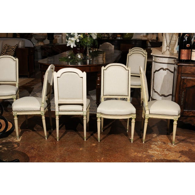 Mid 19th Century Set of Eight French Louis XVI Style Painted Dining Chairs with New Upholstery For Sale - Image 5 of 13
