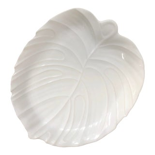 White Philodendron Palm Leaf Ceramic Platter For Sale