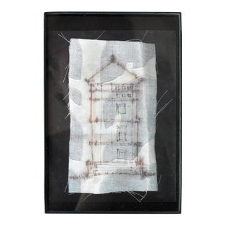 Contemporary Ink on Fabric Drawing of a House For Sale