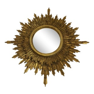 1960s Vintage Sunburst Giltwood Mirror For Sale
