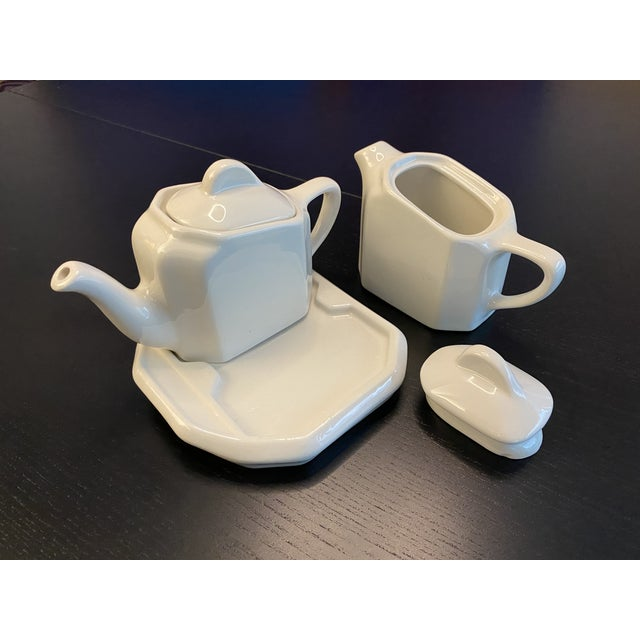1970s Tea For Two Twin Tea Set With Matching Trivet by Hall Pottery - 5 Piece Set For Sale - Image 5 of 12